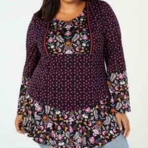 Style & Co Womens 2X I3-08 Purple Floral Top